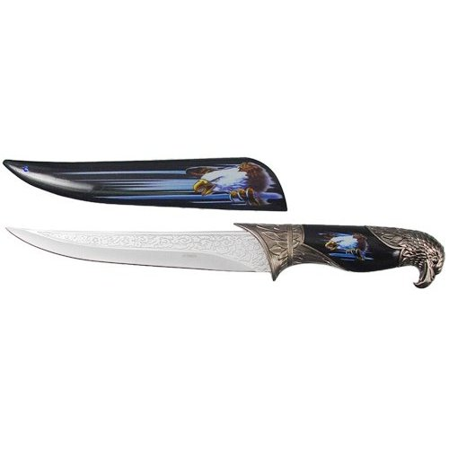 Black Collector's Hunting Knife with Eagle Scabbard and Handle, over 13""