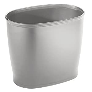 interdesign kent oval space saving trash can silver home kitchen. Black Bedroom Furniture Sets. Home Design Ideas