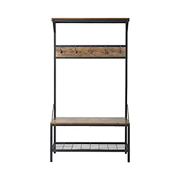 "Homestar with 3-Shelf Hall Tree, 39"" x 15.75"" x 70.86"", Antique Wood"