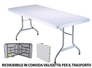 Tavolo tavolino pieghevole in dura resina 183x76xh72 cm for Tavoli pieghevoli