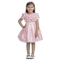 Western Look Styliest Modern Pink Rose Flower Dress - 5-6 Years