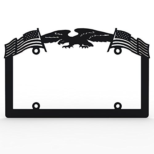 Black Powdercoat Car Truck License Plate Frame Eagle American Flag Eagle - 1 Piece - Ferreus Industries - LIC-141-Black (American License Plate Frame compare prices)