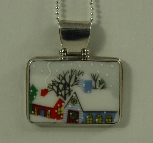 Hand Cut China Sterling Silver Pendant Holiday Winter Scene