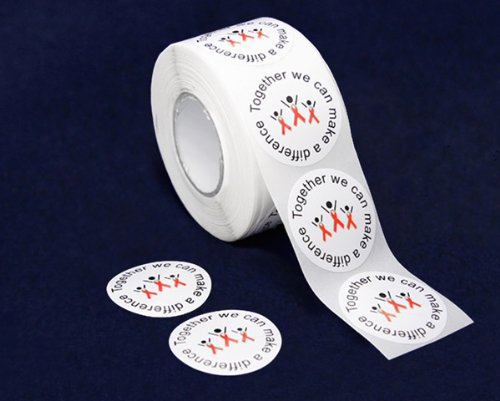 Red Ribbon Stickers - Difference (500 Stickers)