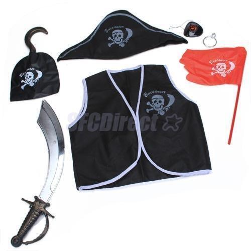 7PCS Boys Child Kids Pirate Dress up Eye patch Vest Sword Hat Halloween Costume (80s Dress Up Ideas For Men)