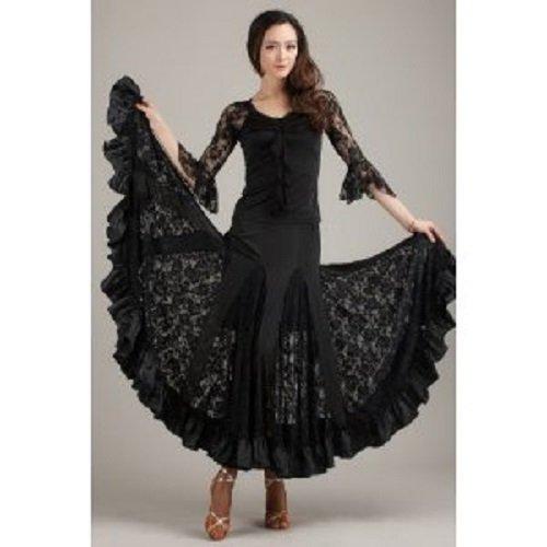 レディース 社交ダンス ドレス 衣装 透け レース ロング スカート 上下 2ピース 黒 M