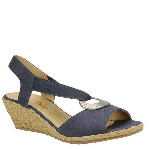 Navy Wedge Sandals