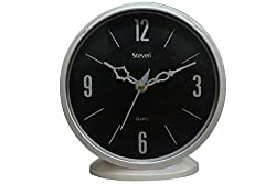 Steven Quartz Silver Black Table Clock / Wall Clock For Office/Home