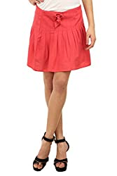 Ladybug Women Linen Pleated Skirt in Pink
