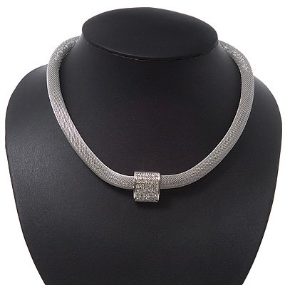 Unique Mesh Diamante Magnetic Choker Necklace In Silver Finish - 40cm Length