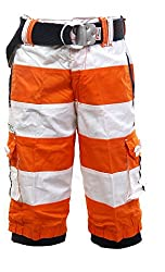 Fingerchips Boys Orange Colour Striped 3/4th Shorts with matching belt (waist 26 )