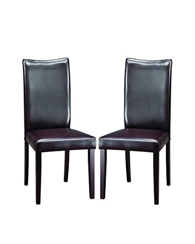 Baxton Studio Set of 2 Sweden Dining Chairs, Dark Brown As You See