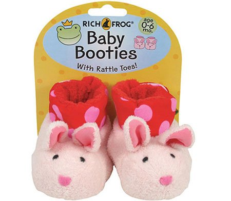 Rich Frog Newborn Baby Booties - Pink Bunnies