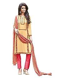 Ganga Fashions Peach Printed Cotton Silk Fabric Straight Cut Dress Material GE-7008-Summer Sonnet
