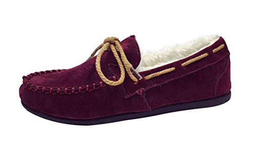 Christmas T&Mates Womens Winter Warm Faux Fur Lined Flats Suede Moccasin Slip-on Loafer Slippers Driving Shoes (6 B(M)US,Wine Red)