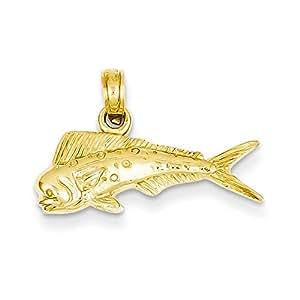 14k Mahi Mahi Fish Pendant