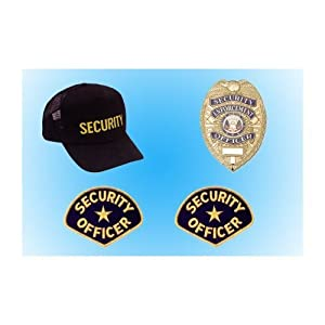 SECURITY GUARD OFFICER BASIC BADGE UNIFORM KIT BUNDLE PACKAGE GOLD/BLACK GREAT DEAL !