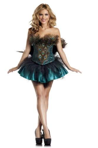 Be Wicked Princess Peacock Costume, Green/Gold, Medium/Large