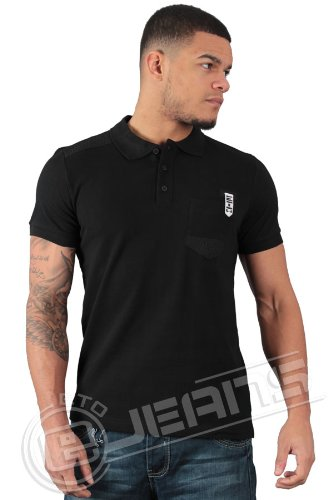 ETO Jeans New Mens Designer Short Sleeve Polo Shirt EPL152 (L, Black)