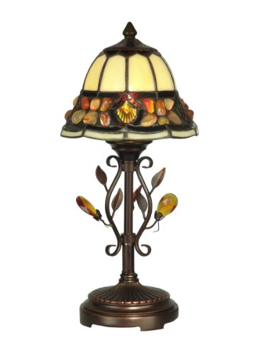 Dale Tiffany TA90228 Pebblestone Accent Table Lamp, Antique Golden Sand and Art Glass Shade