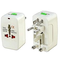 Saisan 3 Pin Universal World Wide Travel Adapter Multi Plug with Surge Protector & Indicator (1 Year Warranty)