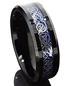 buy King Will 8Mm Black Tungsten Carbide Ring Blue Carbon Fiber Silver Celtic Dragon Men Wedding Band(9)
