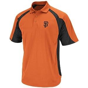 MLB San Francisco Giants Season Pass Polo Shirt, Orange Black by Majestic