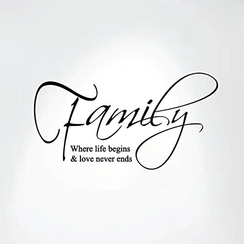 "Family Where Life Begins and Love Never Ends Wall Decal Art Saying Home Decor Sticker #1258 (19"" wide x 10"" high, Matte Black)"