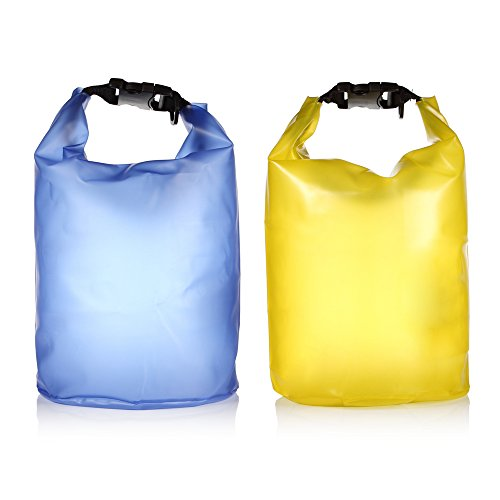 Hzz® 2-Pack Translucent Waterproof Dry Sack For Boating Kayaking Fishing Rafting Swimming Floating And Campig, Storm Sack For Outdoor Sports (Blue And Yellow, 5L)