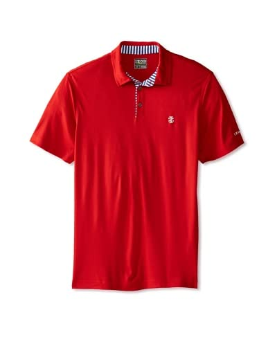 IZOD Men's Short Sleeve Solid Golf Polo with Striped Trim