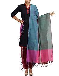 Unnati Silks Women Green-multicolor Pure Handloom Andhra Khadi Cotton dupatta