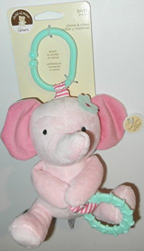 Carter's Child of Mine Chime and Chew Soft Plush - Pink Elephant with Teething Ring and Chime - 1