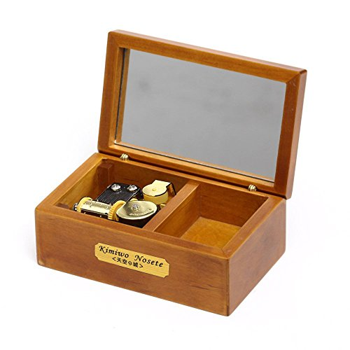 Laxury 18 Note Wind-up Wooden Musical Box with Mirror, Gold Musical Movement, Model M33 (Wood,Melody:Carrying You from Castle in the Sky(Laputa)) (Castle Model Wood compare prices)