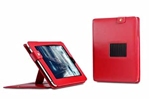 Deluxe Leather Case with Built-in Stand for Apple iPad (Red)