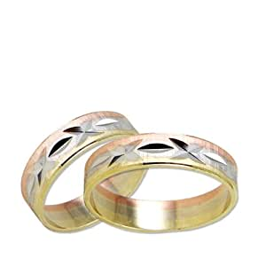 14k Tricolor Gold, Matching His and Her Wedding Bands 5mm Wide Brilliant Facets