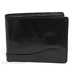 SOLDO - Men's Italian Leather Passcase Wallet with Removable ID Holder, Black