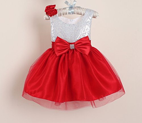 Red and Silver Sequins Girls Valentine's Day Dress