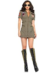 Leg Avenue Women's 2 Piece Top Gun Flight Zipper Front Dress With Aviator Glasses from Leg Avenue