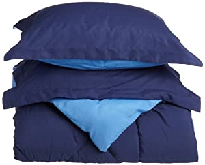 Cathay Home Fashions Silky Soft 3-Piece Microfiber King Reversible Comforter Set, Navy/Regatta