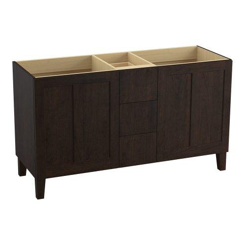 Kohler K-99537-Lg-1Wb Poplin 60-Inch Vanity With Furniture Legs, 2 Doors And 3 Drawers, Claret Suede