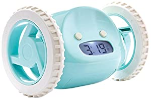 Clocky Alarm Clock on Wheels in Aqua