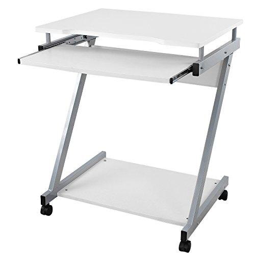 Songmics-Computerwagen-Computertisch-Brotisch-PC-Tisch-wei-Z-Form-Line-Rollen-LCD811W