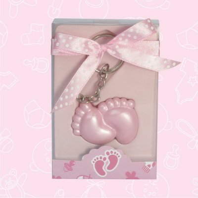 24 Baby Shower Baby Pink Foot Print Keychain Favor In Box Favors Gift Keepsake Favor front-1071532