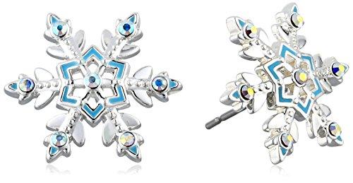 "Disney Girls  ""Frozen"" Silver-Plated Crystal Snowflake Stud Earrings"