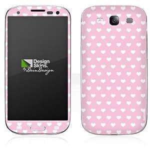 Handy Skin Aufkleber Sticker für Polka Hearts - rosa und weiß Galaxy S3 I9300...