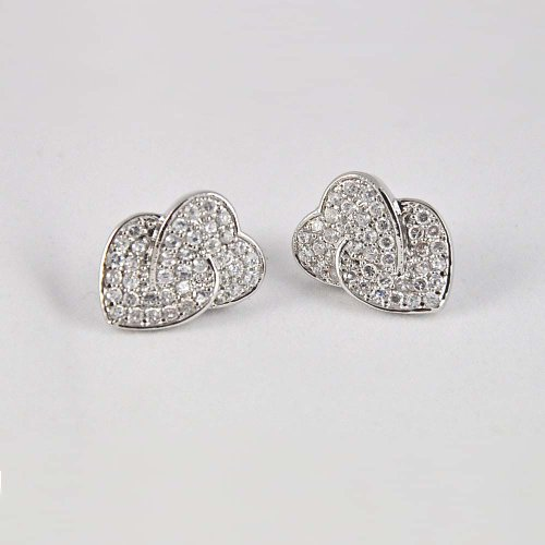 Twin Hearts .925 Silver Earrings