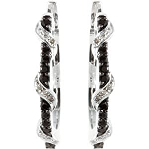 IceCarats Designer Jewelry Sterling Silver Black Spinel And Diamond Earrings. Pair 1/10 Ct Tw