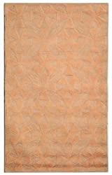 "2'6"" x 4'3"" Rectangular Oscar Isberian Rugs Area Rug Pink/Sand Color Hand Hooked China ""Martha Stewart Collection"""