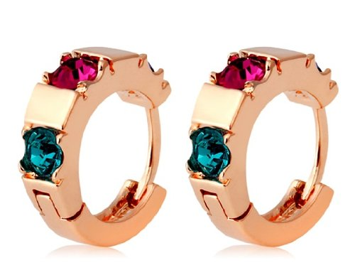 Rigant 18K Rgp Alloy Colorful Crystal Hoop Earrings (Gold) M. By Chonlyshop