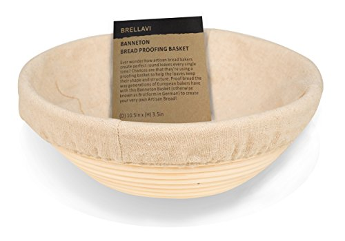 10.5 Inch Banneton Proofing Basket with FREE Cloth Liner + Sillicone Bowl Scraper + Instructions & Recipe - Creates Beautiful Ring Pattern - Oval Proofing Bowl for Artisan Bread Loaf & Dough Rising (Bread Bowl Mold compare prices)